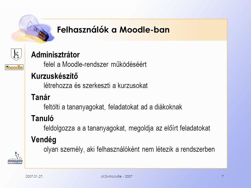 2007.01.27.LKG-Moodle - 200718 … a tesztek eredményeit, …
