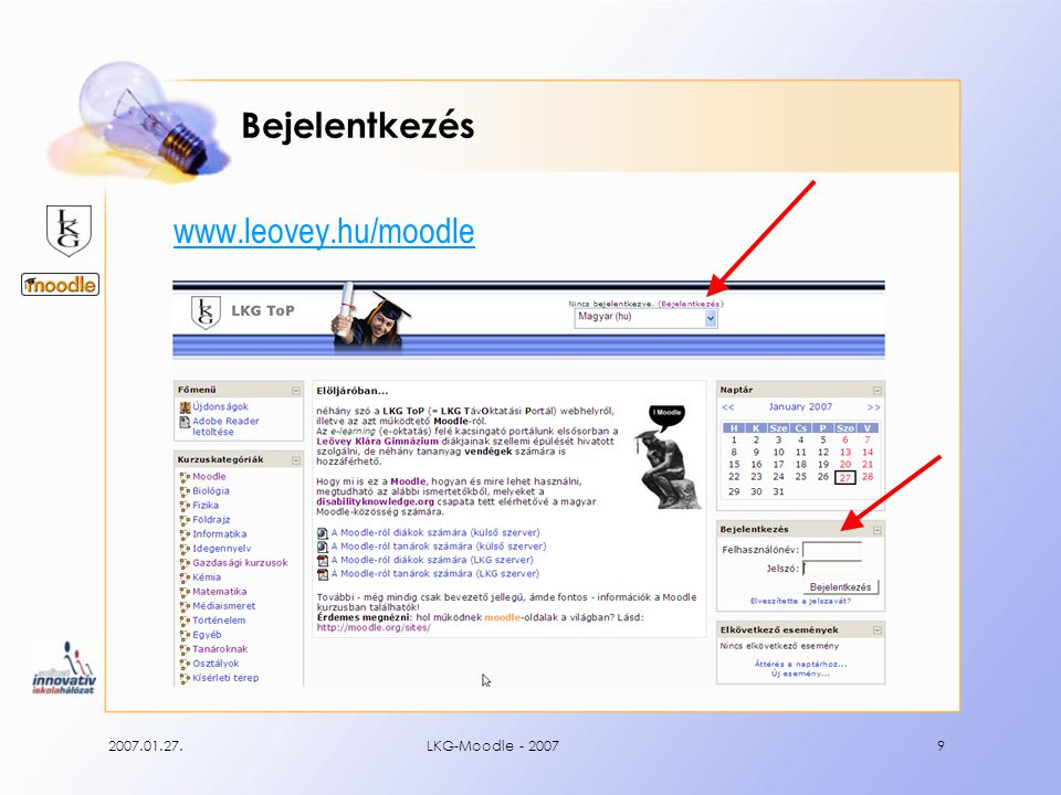 2007.01.27.LKG-Moodle - 200710 Diák Dezső bejelentkezik