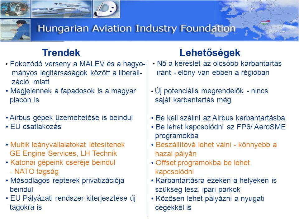 Trendek Lehetőségek Fokozódó verseny a MALÉV és a hagyo- mányos légitársaságok között a liberali- záció miatt Megjelennek a fapadosok is a magyar piac