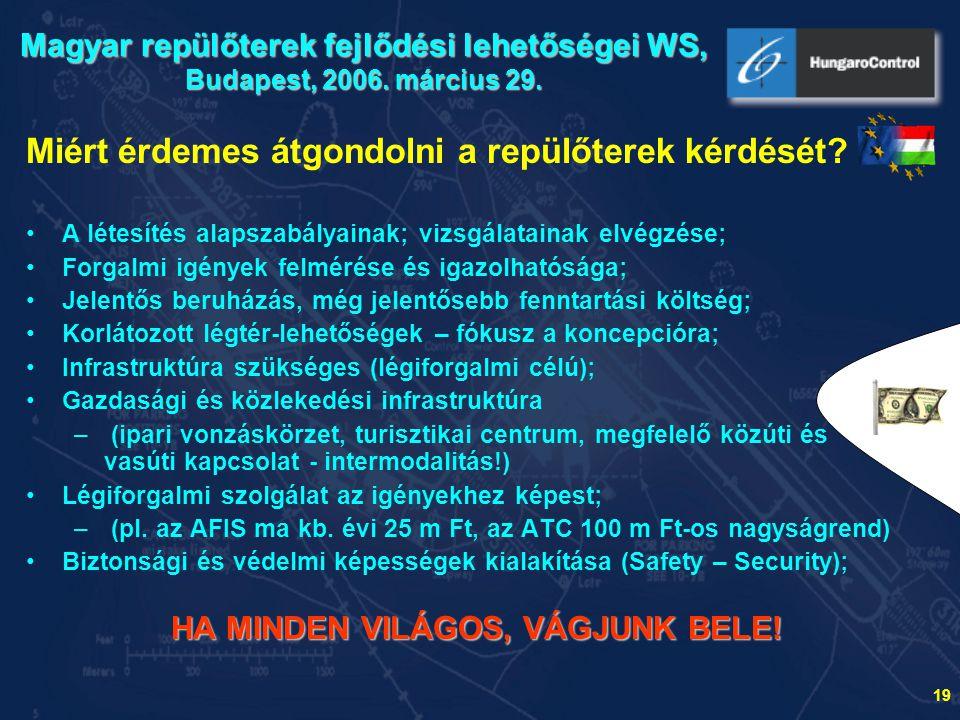 """20 A """"kis repülőterek légiforgalmi rendszerbe illeszkedésének kérdései Magyar repülőterek fejlődési lehetőségei WS Budapest, 2006."""