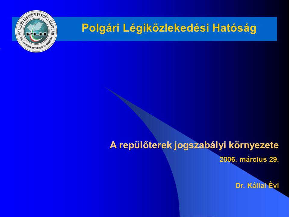 Polgári Légiközlekedési Hatóság A repülőterek jogszabályi környezete 2006. március 29. Dr. Kállai Évi