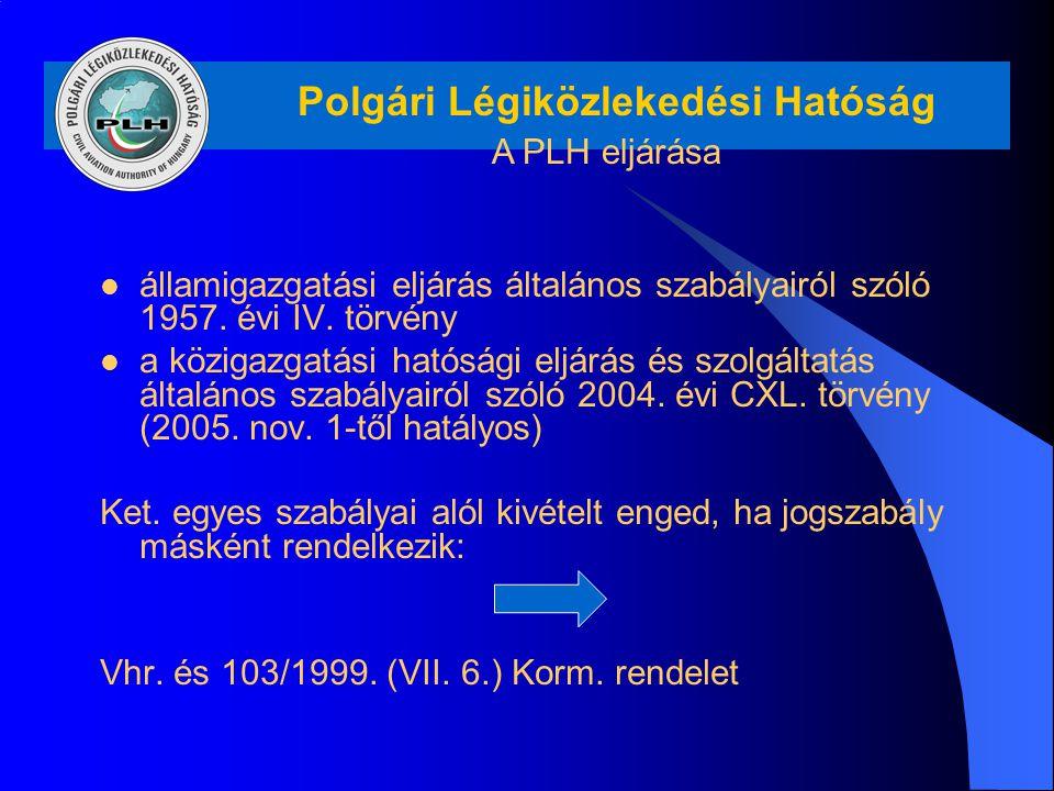 Polgári Légiközlekedési Hatóság A PLH eljárása államigazgatási eljárás általános szabályairól szóló 1957. évi IV. törvény a közigazgatási hatósági elj