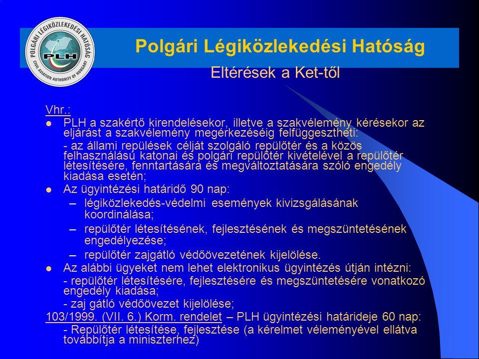 Polgári Légiközlekedési Hatóság Eltérések a Ket-től Vhr.: PLH a szakértő kirendelésekor, illetve a szakvélemény kérésekor az eljárást a szakvélemény m
