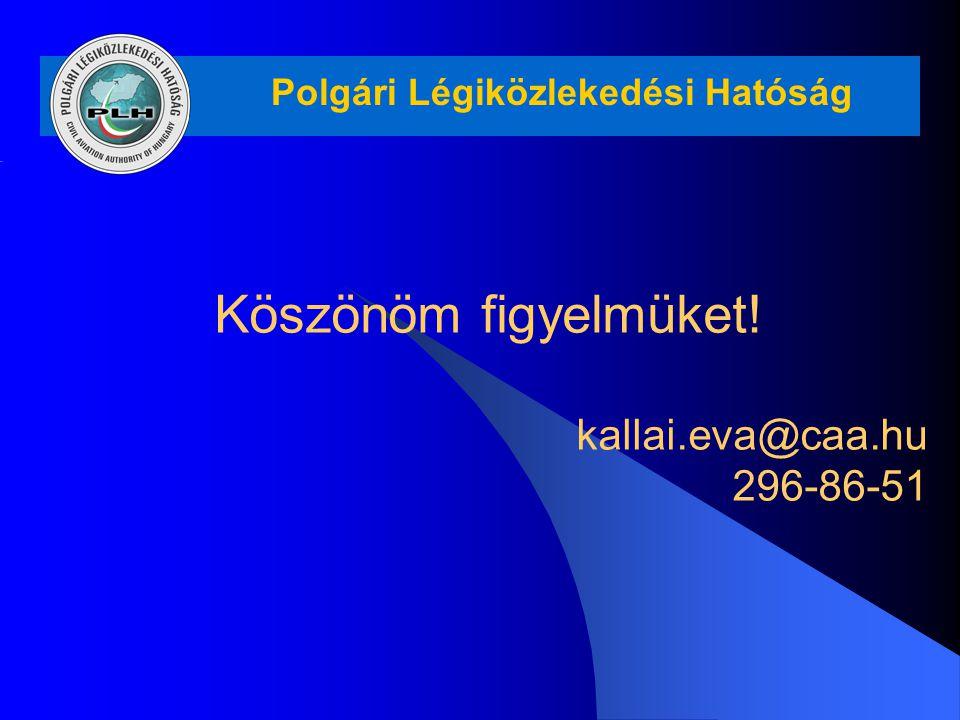 Polgári Légiközlekedési Hatóság Köszönöm figyelmüket! kallai.eva@caa.hu 296-86-51