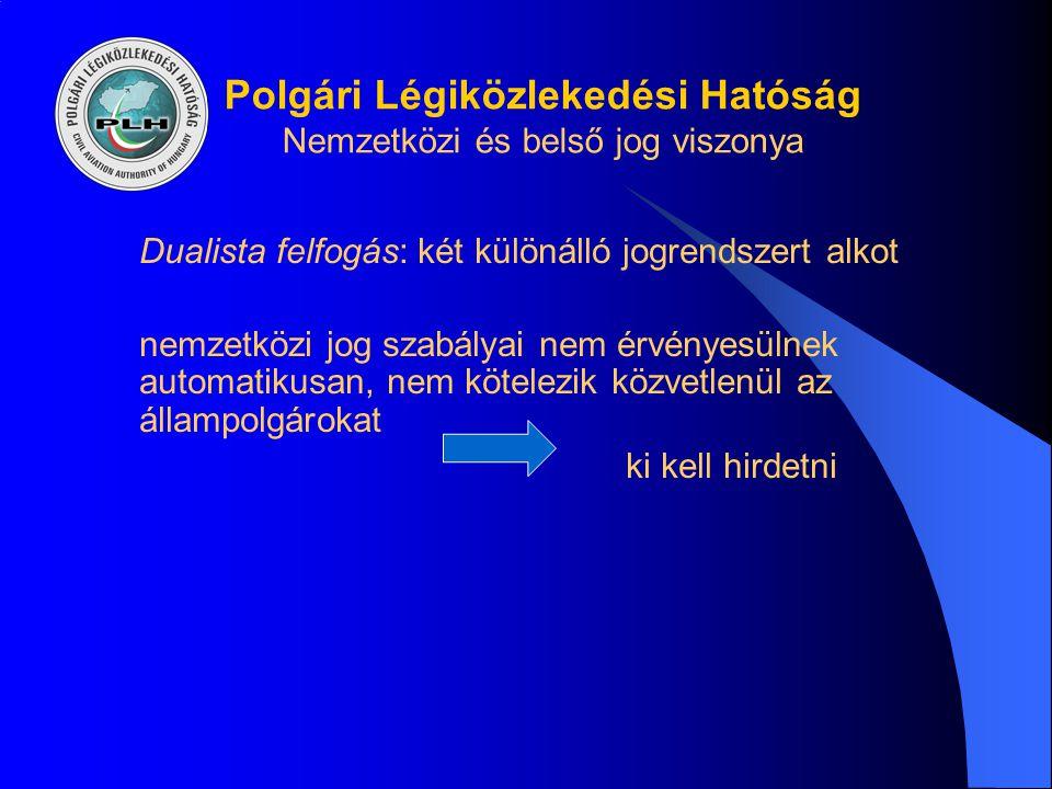 Polgári Légiközlekedési Hatóság Nemzetközi és belső jog viszonya Dualista felfogás: két különálló jogrendszert alkot nemzetközi jog szabályai nem érvé