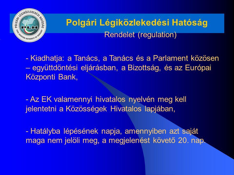 Polgári Légiközlekedési Hatóság Rendelet (regulation) - Kiadhatja: a Tanács, a Tanács és a Parlament közösen – együttdöntési eljárásban, a Bizottság,