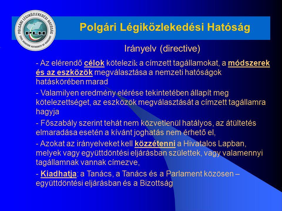 Polgári Légiközlekedési Hatóság Irányelv (directive) - Az elérendő célok kötelezi k a címzett tagállamokat, a módszerek és az eszközök megválasztása a