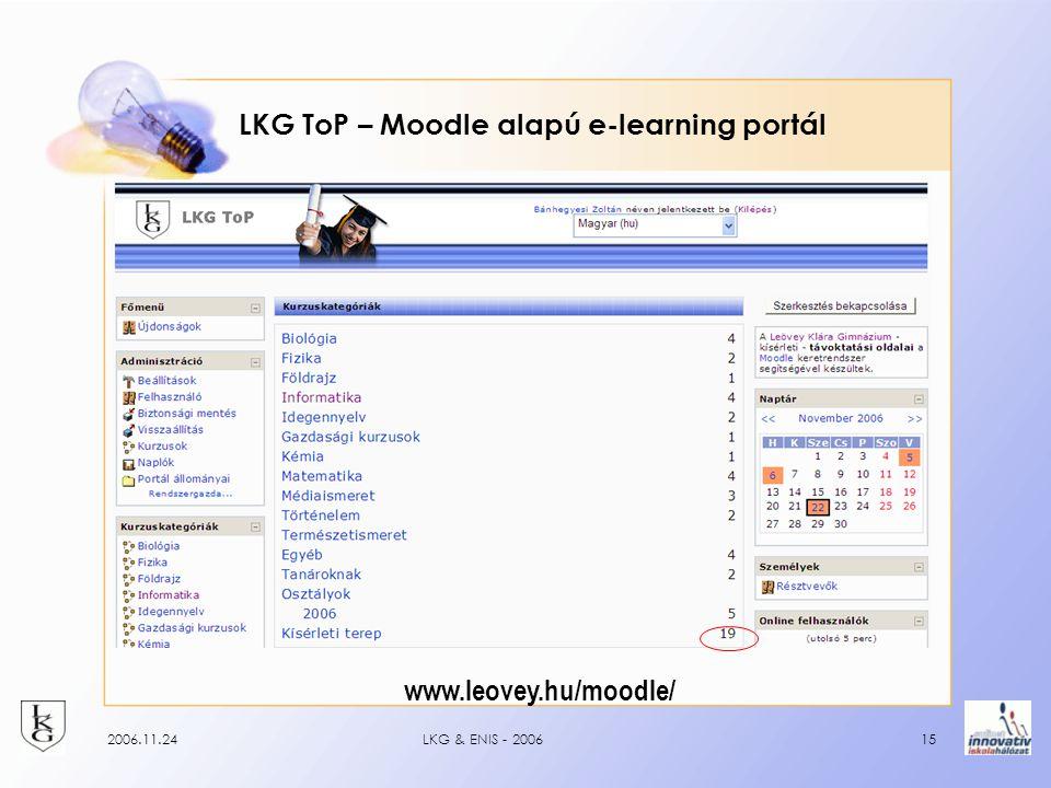 2006.11.24LKG & ENIS - 200615 LKG ToP – Moodle alapú e-learning portál www.leovey.hu/moodle/
