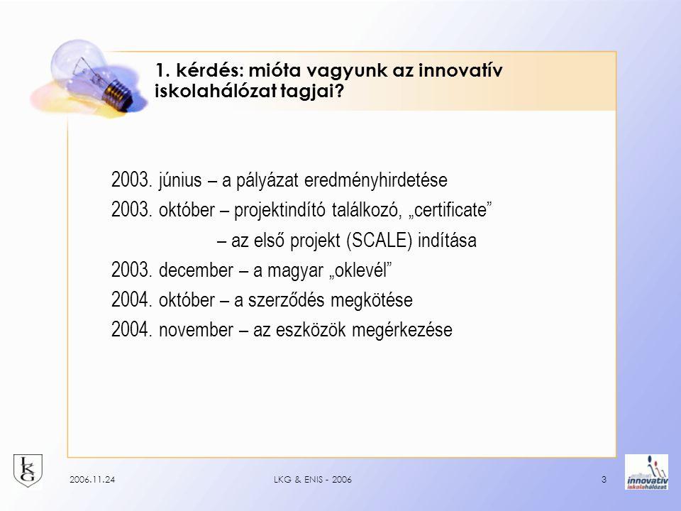 2006.11.24LKG & ENIS - 20063 1. kérdés: mióta vagyunk az innovatív iskolahálózat tagjai.
