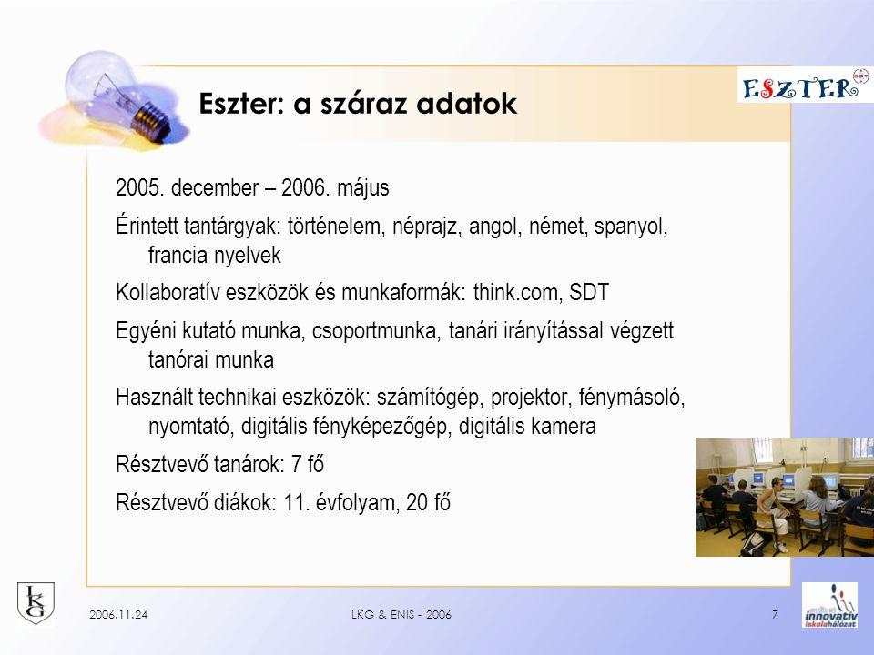 2006.11.24LKG & ENIS - 20067 Eszter: a száraz adatok 2005.