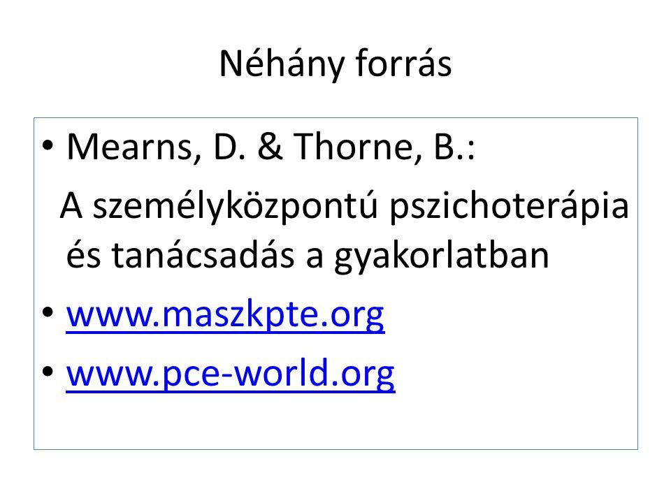 Néhány forrás Mearns, D. & Thorne, B.: A személyközpontú pszichoterápia és tanácsadás a gyakorlatban www.maszkpte.org www.pce-world.org