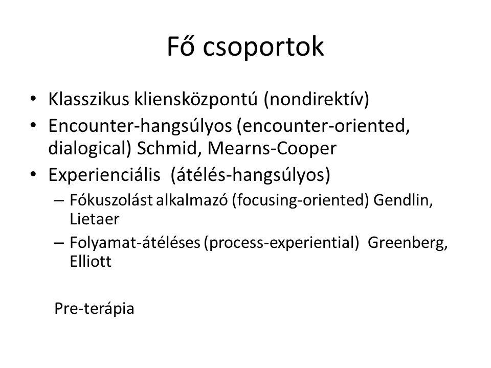 Fő csoportok Klasszikus kliensközpontú (nondirektív) Encounter-hangsúlyos (encounter-oriented, dialogical) Schmid, Mearns-Cooper Experienciális (átélé