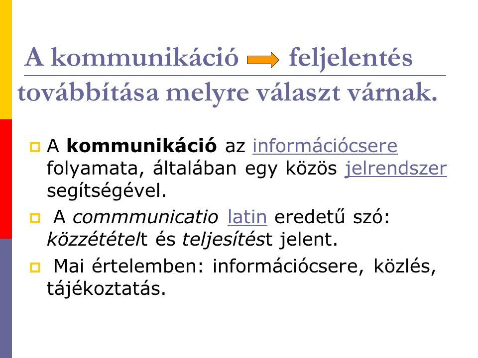 A kommunikáció feljelentés továbbítása melyre választ várnak.  A kommunikáció az információcsere folyamata, általában egy közös jelrendszer segítségé