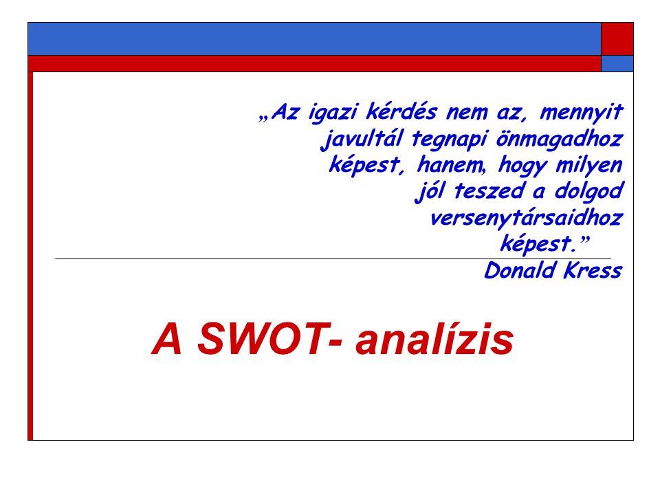 A SWOT- analízis a nyitott intézményi önértékelés egyik lehetséges módszere.