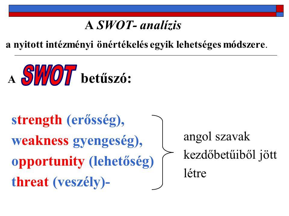 Amiért érdemes használni a SWOT analízist:  könnyen alkalmazható  gyorsan lehet vele egy helyzetképet alkotni  az EU-s elvárások között szerepel a SWOT analízis használata  elterjedt a módszer, sokan ismerik  tiszta struktúrát ad a helyzetértékeléshez  az elkészített elemzés alapját képezi a jövőbeli terveknek A SWOT analízis alkalmazása során előforduló hibalehetőségek:  öncélúan készül az analízis;  elkészül az elemzés, és nem foglalkoznak tovább az elemzés megállapításaival, vagy nem következetesen;  puha módszernek tekintik, melynek nincsenek szigorú alkalmazási szabályai  a megállapított gyengeségeket és erősségeket nem vetik össze a lehetőségekkel és veszélyekkel  nem születnek meg az elemezés eredményének megfelelő döntések és akciók
