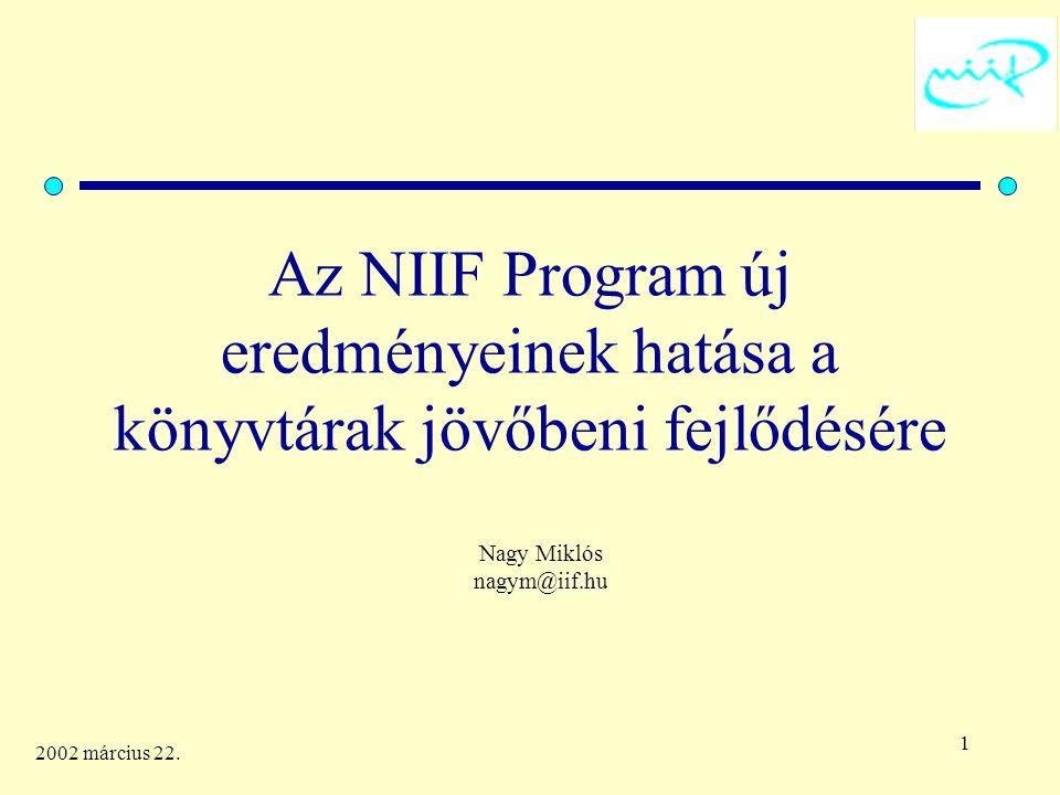 2 2002 március 22. Miről lesz szó ? Az NIIF céljai és eredményei Az NIIF céljai a jövőben