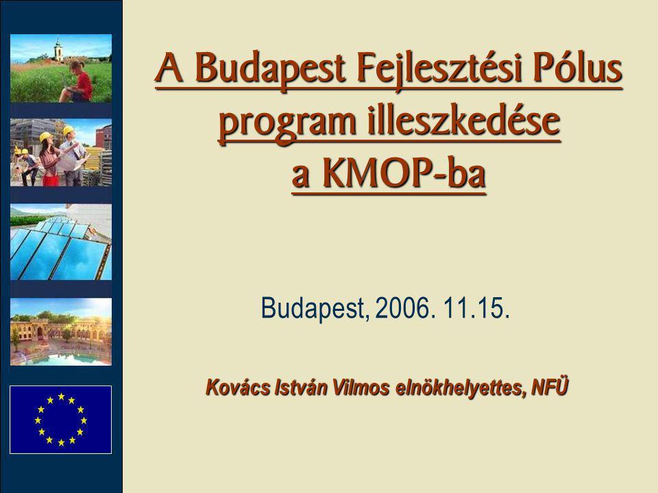 A Budapest Fejlesztési Pólus program illeszkedése a KMOP-ba Kovács István Vilmos elnökhelyettes, NFÜ Budapest, 2006. 11.15.