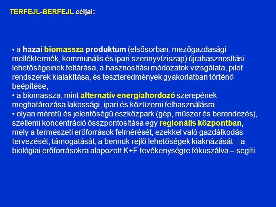 TERFEJLBERFEJL céljai: TERFEJL-BERFEJL céljai: a hazai biomassza produktum (elsősorban: mezőgazdasági melléktermék, kommunális és ipari szennyvíziszap) újrahasznosítási lehetőségeinek feltárása, a hasznosítási módozatok vizsgálata, pilot rendszerek kialakítása, és teszteredmények gyakorlatban történő beépítése, a biomassza, mint alternatív energiahordozó szerepének meghatározása lakossági, ipari és közüzemi felhasználásra, olyan méretű és jelentőségű eszközpark (gép, műszer és berendezés), szellemi koncentráció összpontosítása egy regionális központban, mely a természeti erőforrások felmérését, ezekkel való gazdálkodás tervezését, támogatását, a bennük rejlő lehetőségek kiaknázását – a biológiai erőforrásokra alapozott K+F tevékenységre fókuszálva – segíti.