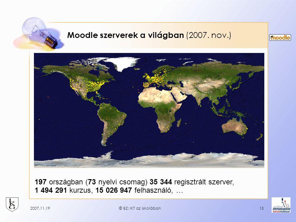 2007.11.19© BZ: IKT az iskolában13 Moodle szerverek a világban (2007. nov.) 197 országban (73 nyelvi csomag) 35 344 regisztrált szerver, 1 494 291 kur