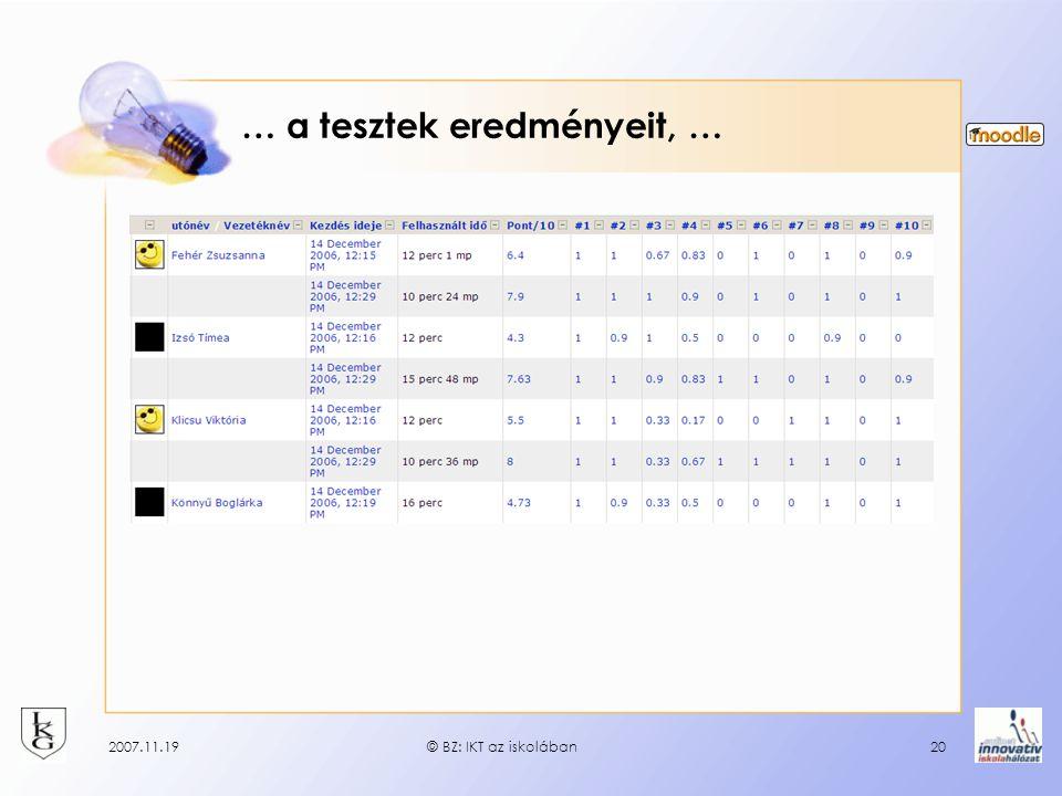 2007.11.19© BZ: IKT az iskolában20 … a tesztek eredményeit, …