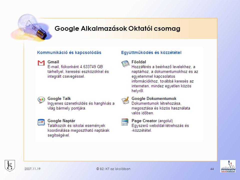 2007.11.19© BZ: IKT az iskolában44 Google Alkalmazások Oktatói csomag