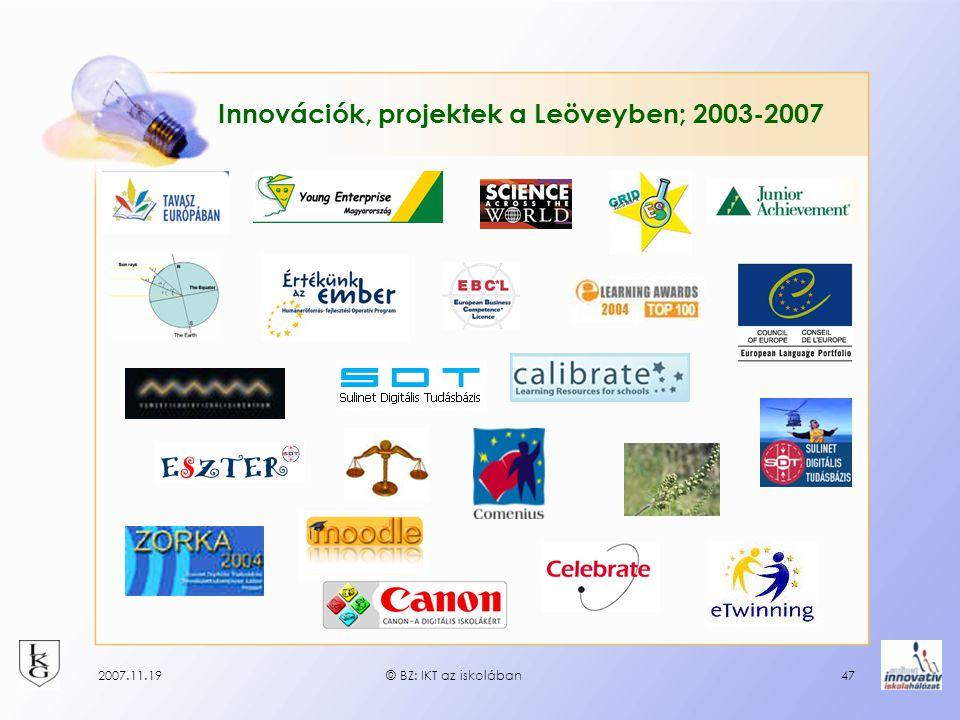 2007.11.19© BZ: IKT az iskolában47 Innovációk, projektek a Leöveyben; 2003-2007