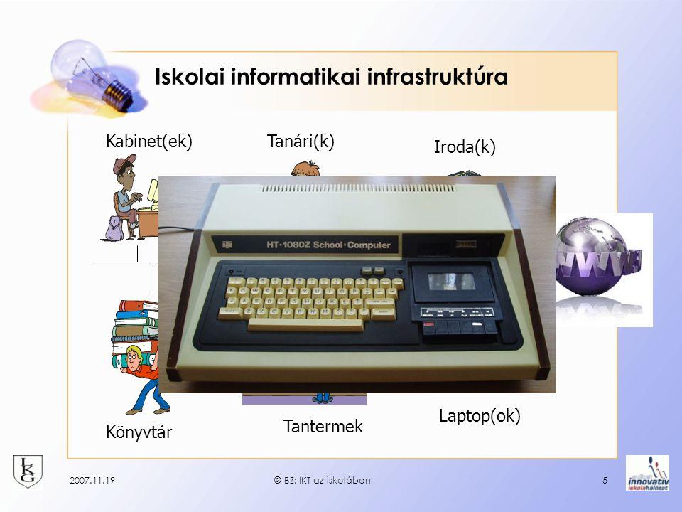 2007.11.19© BZ: IKT az iskolában5 Iskolai informatikai infrastruktúra Kabinet(ek)Tanári(k) Iroda(k) Könyvtár Tantermek Laptop(ok)
