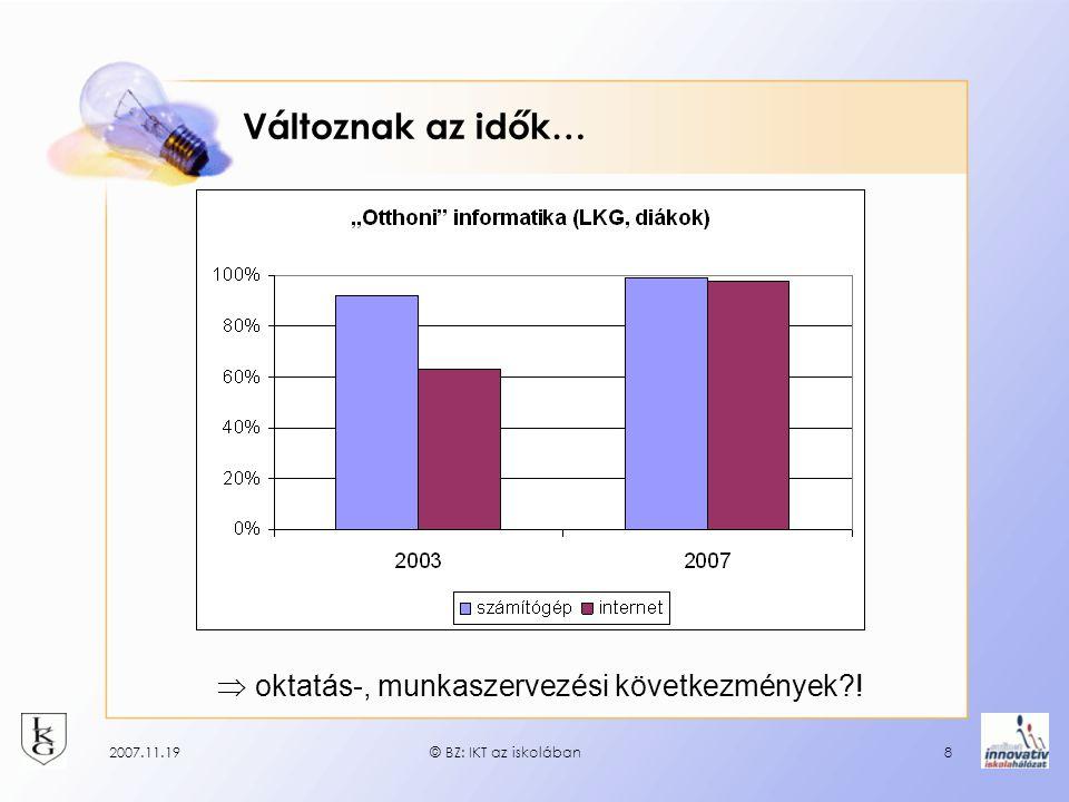 2007.11.19© BZ: IKT az iskolában8 Változnak az idők…  oktatás-, munkaszervezési következmények?!