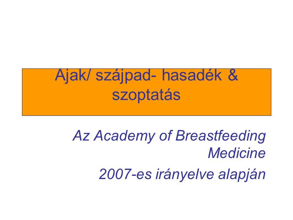 Ajak/ szájpad- hasadék & szoptatás Az Academy of Breastfeeding Medicine 2007-es irányelve alapján
