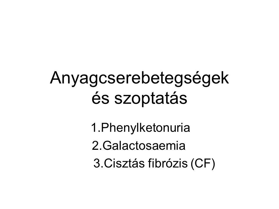 Anyagcserebetegségek és szoptatás 1.Phenylketonuria 2.Galactosaemia 3.Cisztás fibrózis (CF)