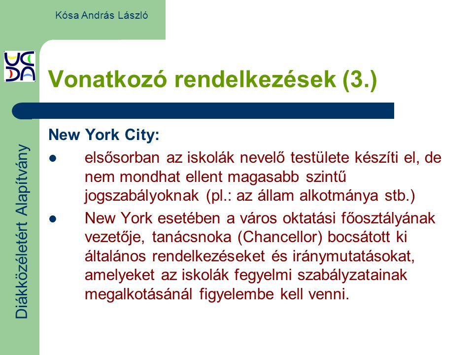 Vonatkozó rendelkezések (3.) New York City: elsősorban az iskolák nevelő testülete készíti el, de nem mondhat ellent magasabb szintű jogszabályoknak (pl.: az állam alkotmánya stb.) New York esetében a város oktatási főosztályának vezetője, tanácsnoka (Chancellor) bocsátott ki általános rendelkezéseket és iránymutatásokat, amelyeket az iskolák fegyelmi szabályzatainak megalkotásánál figyelembe kell venni.