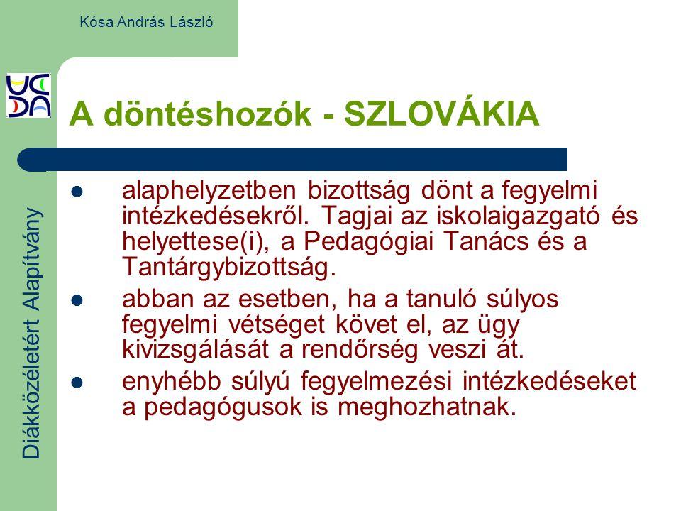 A döntéshozók - SZLOVÁKIA alaphelyzetben bizottság dönt a fegyelmi intézkedésekről.