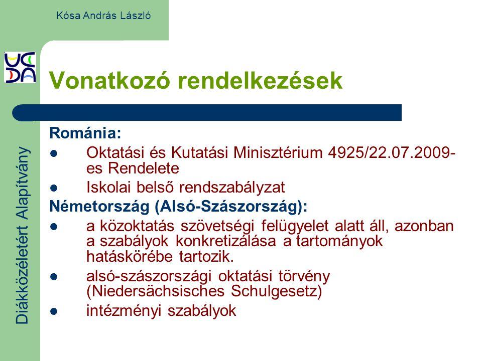 Vonatkozó rendelkezések Románia: Oktatási és Kutatási Minisztérium 4925/22.07.2009- es Rendelete Iskolai belső rendszabályzat Németország (Alsó-Szászország): a közoktatás szövetségi felügyelet alatt áll, azonban a szabályok konkretizálása a tartományok hatáskörébe tartozik.