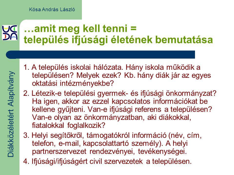 …amit meg kell tenni = település ifjúsági életének bemutatása Diákközéletért Alapítvány Kósa András László 1.