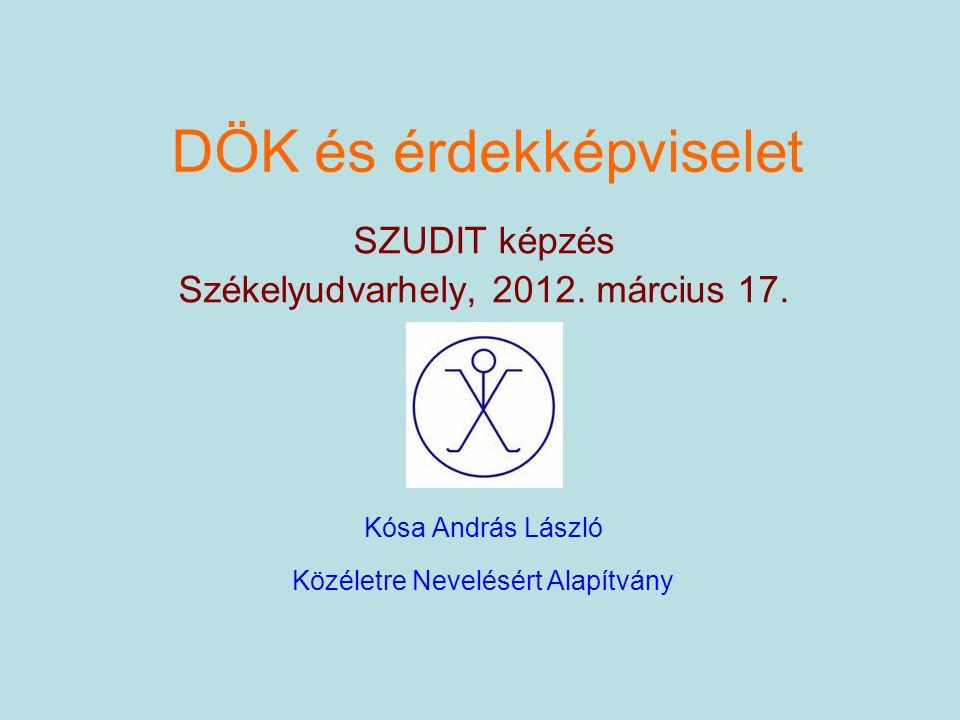 DÖK és érdekképviselet SZUDIT képzés Székelyudvarhely, 2012. március 17. Kósa András László Közéletre Nevelésért Alapítvány