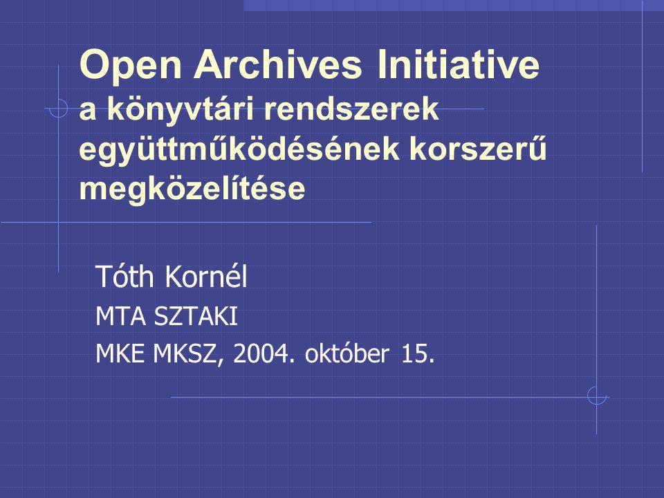 Open Archives Initiative a könyvtári rendszerek együttműködésének korszerű megközelítése Tóth Kornél MTA SZTAKI MKE MKSZ, 2004.