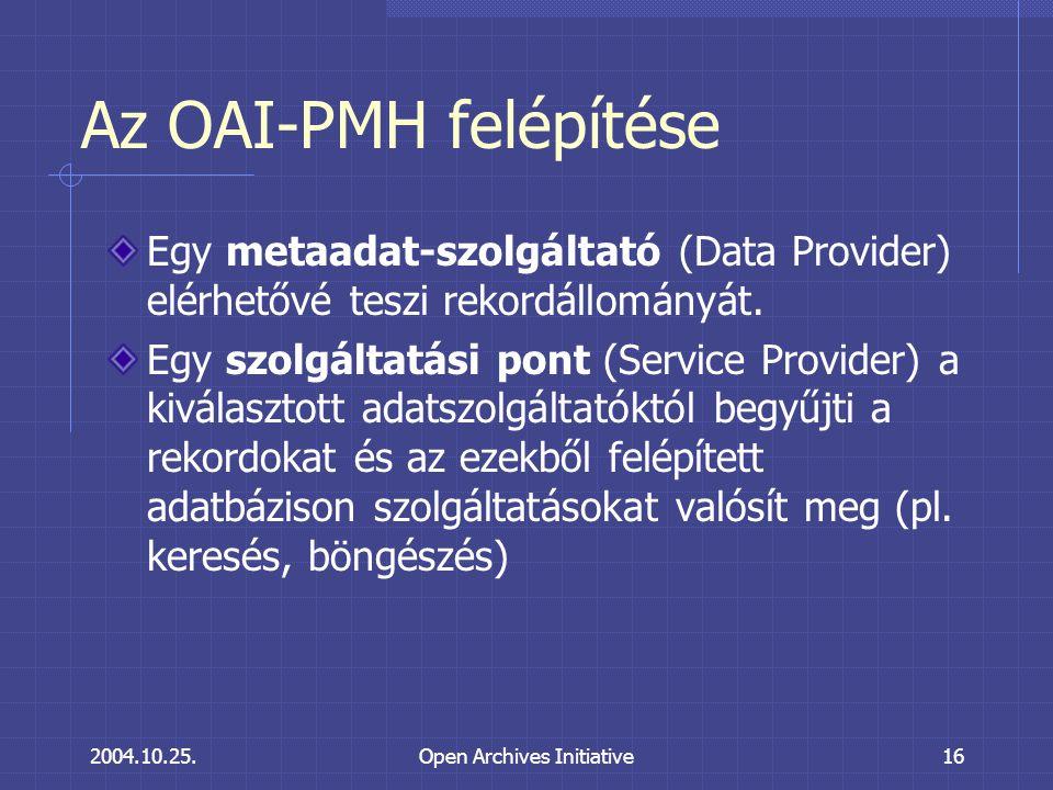 2004.10.25.Open Archives Initiative16 Az OAI-PMH felépítése Egy metaadat-szolgáltató (Data Provider) elérhetővé teszi rekordállományát.