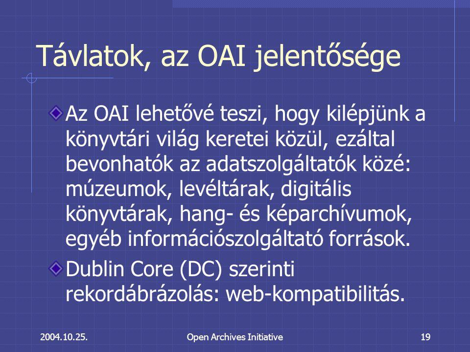 2004.10.25.Open Archives Initiative19 Távlatok, az OAI jelentősége Az OAI lehetővé teszi, hogy kilépjünk a könyvtári világ keretei közül, ezáltal bevonhatók az adatszolgáltatók közé: múzeumok, levéltárak, digitális könyvtárak, hang- és képarchívumok, egyéb információszolgáltató források.