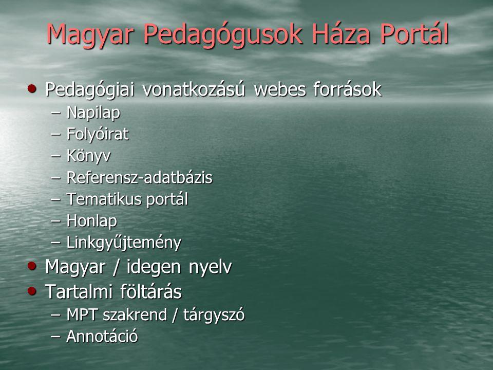 Magyar Pedagógusok Háza Portál Pedagógiai vonatkozású webes források Pedagógiai vonatkozású webes források –Napilap –Folyóirat –Könyv –Referensz-adatb