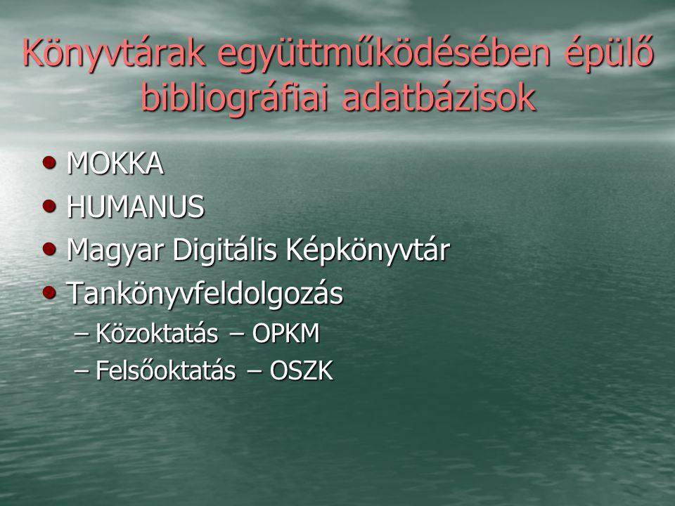 Könyvtárak együttműködésében épülő bibliográfiai adatbázisok MOKKA MOKKA HUMANUS HUMANUS Magyar Digitális Képkönyvtár Magyar Digitális Képkönyvtár Tan