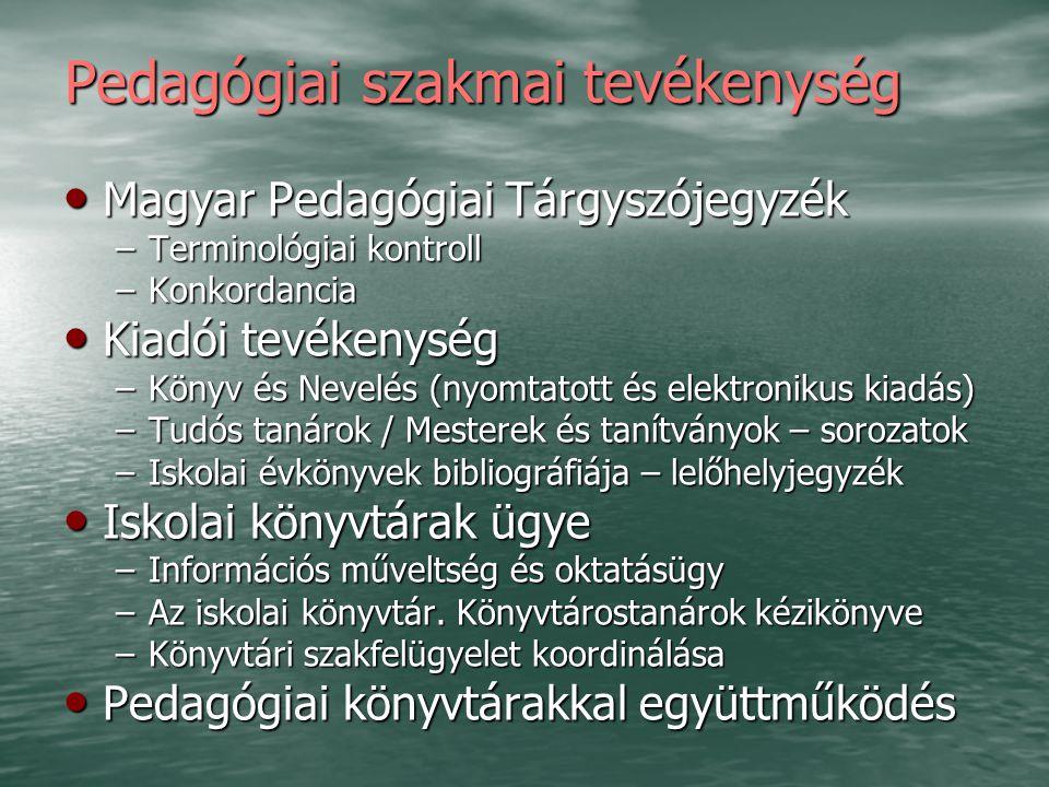 Pedagógiai szakmai tevékenység Magyar Pedagógiai Tárgyszójegyzék Magyar Pedagógiai Tárgyszójegyzék –Terminológiai kontroll –Konkordancia Kiadói tevéke