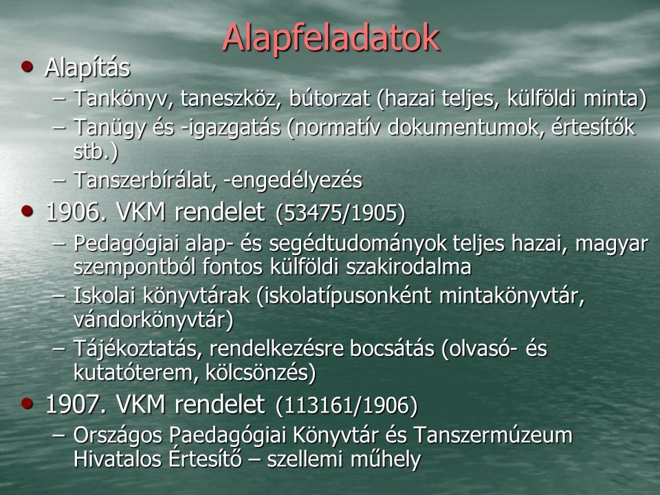 Alapfeladatok Alapítás Alapítás –Tankönyv, taneszköz, bútorzat (hazai teljes, külföldi minta) –Tanügy és -igazgatás (normatív dokumentumok, értesítők stb.) –Tanszerbírálat, -engedélyezés 1906.