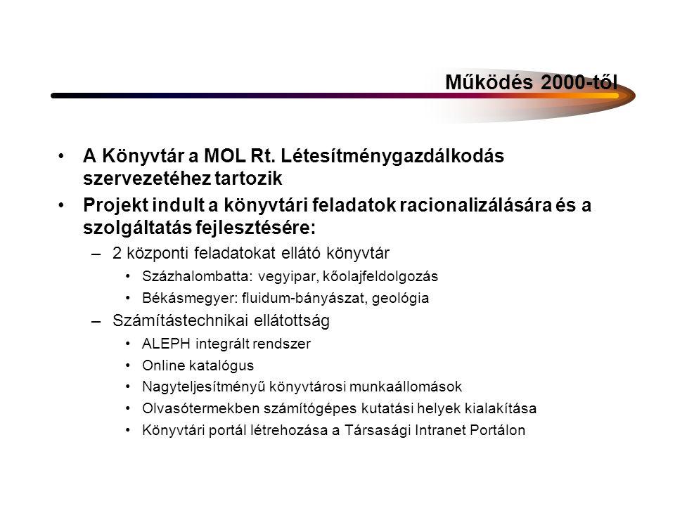 Jelenlegi működés 2004-től a Könyvtár integrációs szervezet Szolgáltatási területe a MOL-Csoport: –MOL Rt.