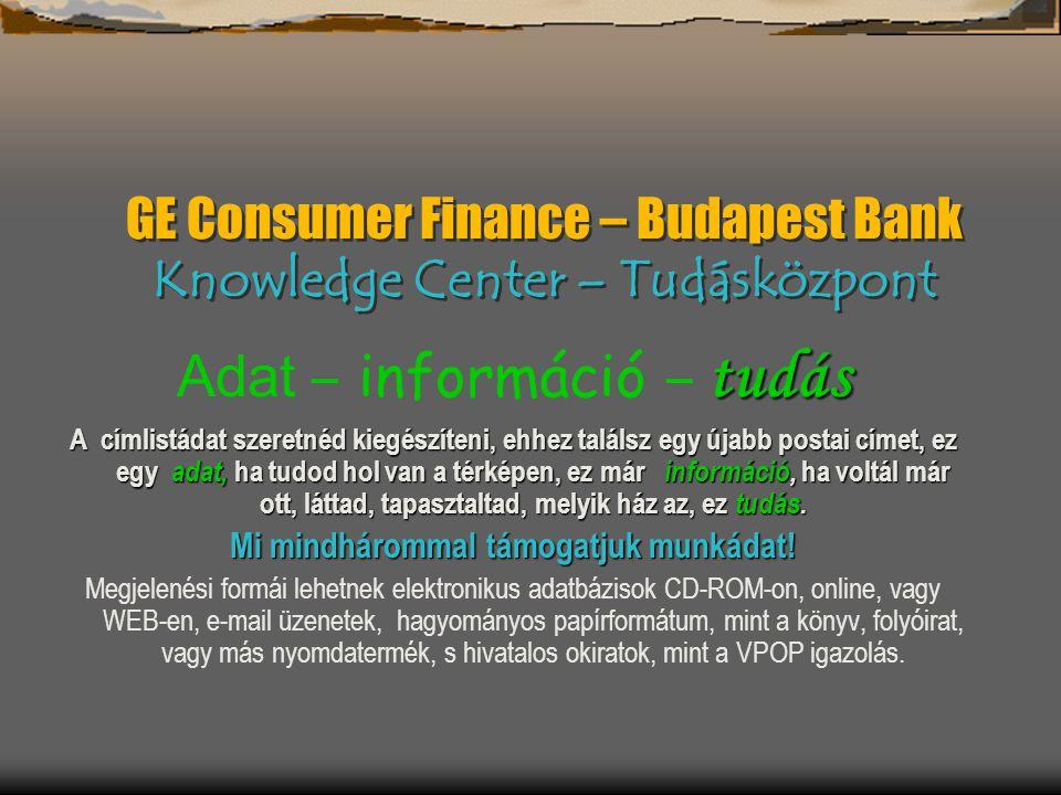 GE Consumer Finance – Budapest Bank Knowledge Center – Tudásközpont tudás Adat – információ – tudás A címlistádat szeretnéd kiegészíteni, ehhez találsz egy újabb postai címet, ez egy adat, ha tudod hol van a térképen, ez már információ, ha voltál már ott, láttad, tapasztaltad, melyik ház az, ez tudás.
