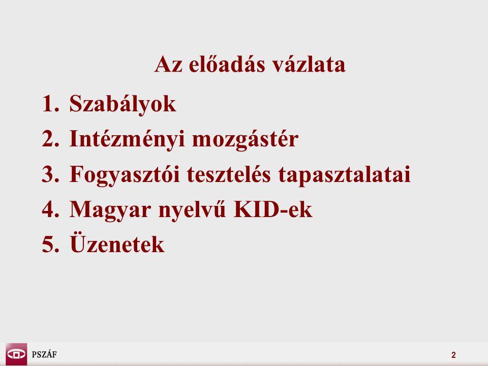 2 Az előadás vázlata 1.Szabályok 2.Intézményi mozgástér 3.Fogyasztói tesztelés tapasztalatai 4.Magyar nyelvű KID-ek 5.Üzenetek