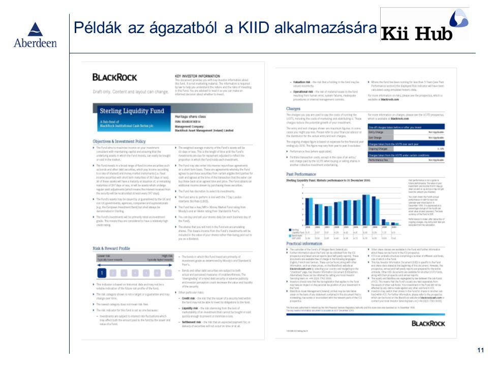 11 Példák az ágazatból a KIID alkalmazására