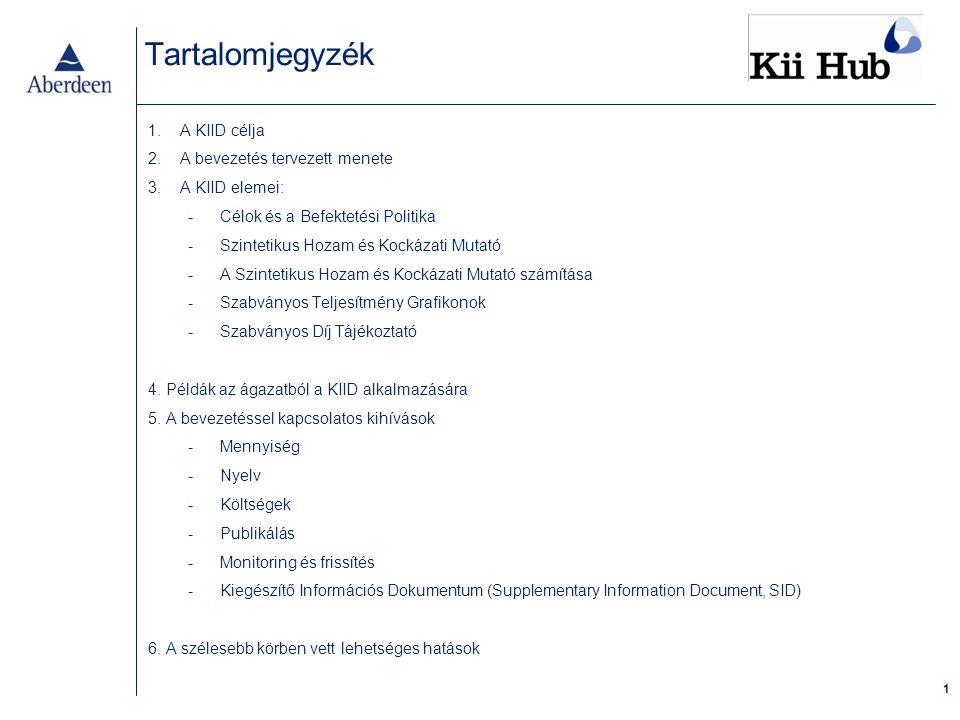1 Tartalomjegyzék 1.A KIID célja 2.A bevezetés tervezett menete 3.A KIID elemei: -Célok és a Befektetési Politika -Szintetikus Hozam és Kockázati Mutató -A Szintetikus Hozam és Kockázati Mutató számítása -Szabványos Teljesítmény Grafikonok -Szabványos Díj Tájékoztató 4.