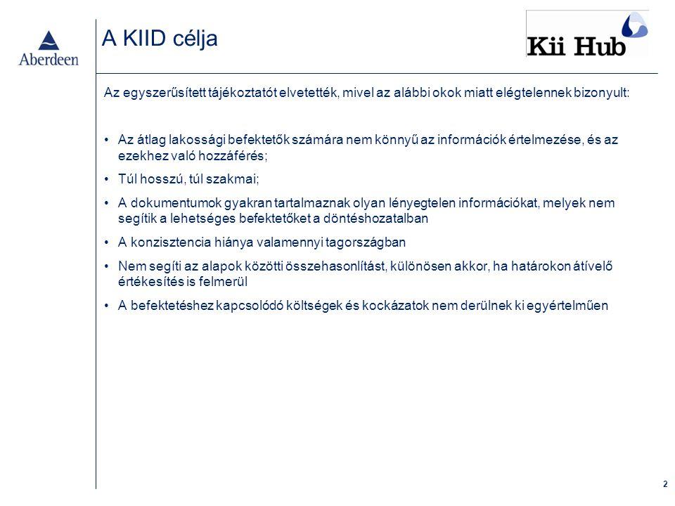 13 Példák az ágazatból a KIID alkalmazására