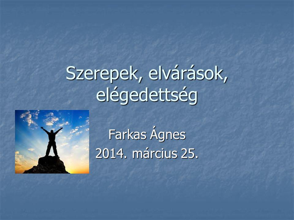 Szerepek, elvárások, elégedettség Farkas Ágnes 2014. március 25.