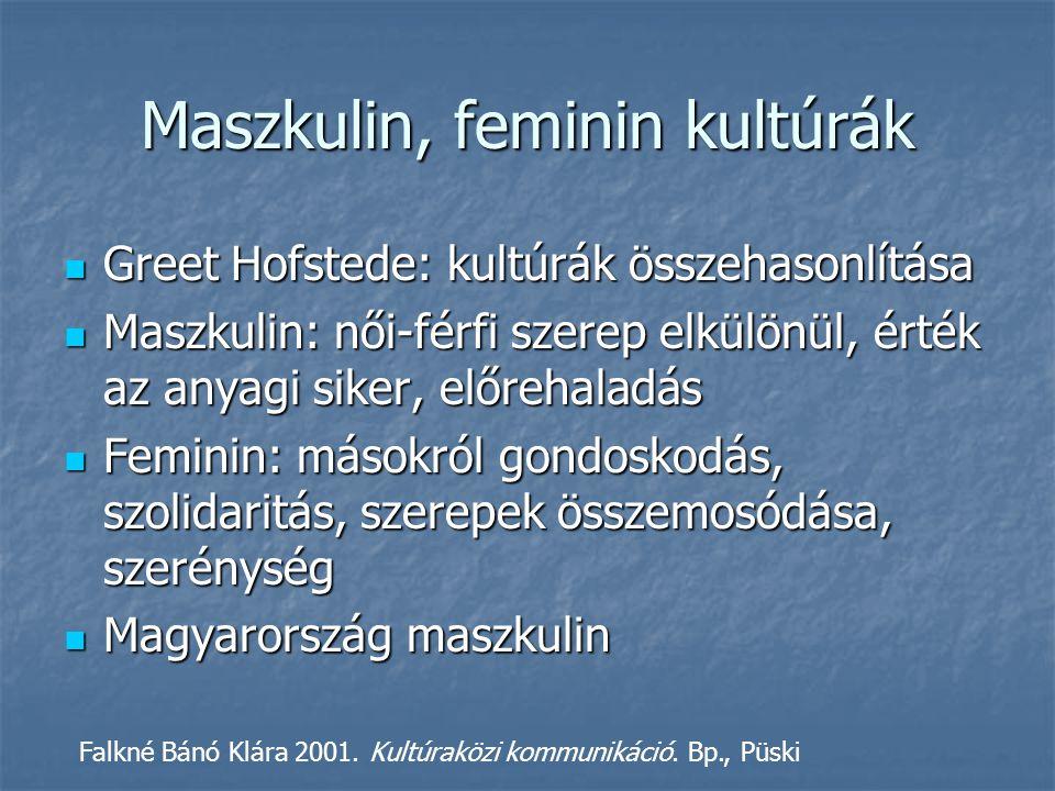 Maszkulin, feminin kultúrák Greet Hofstede: kultúrák összehasonlítása Greet Hofstede: kultúrák összehasonlítása Maszkulin: női-férfi szerep elkülönül, érték az anyagi siker, előrehaladás Maszkulin: női-férfi szerep elkülönül, érték az anyagi siker, előrehaladás Feminin: másokról gondoskodás, szolidaritás, szerepek összemosódása, szerénység Feminin: másokról gondoskodás, szolidaritás, szerepek összemosódása, szerénység Magyarország maszkulin Magyarország maszkulin Falkné Bánó Klára 2001.